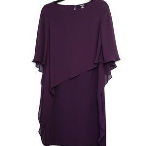 Chaps Purple Flutter Sleeve Overlay Dress
